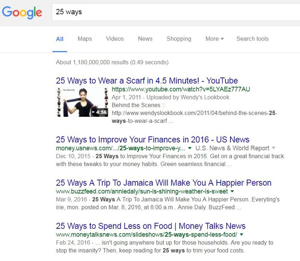 List posts are easy to read, great for skimming and even better for linking. (Image: Google screenshot)