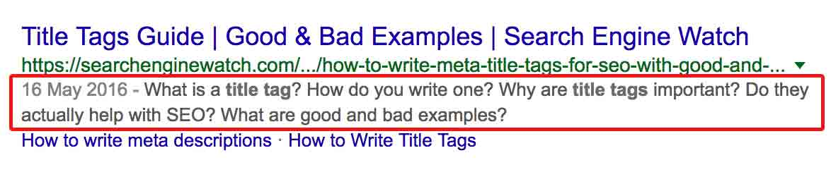 Google search result with meta description highlighted