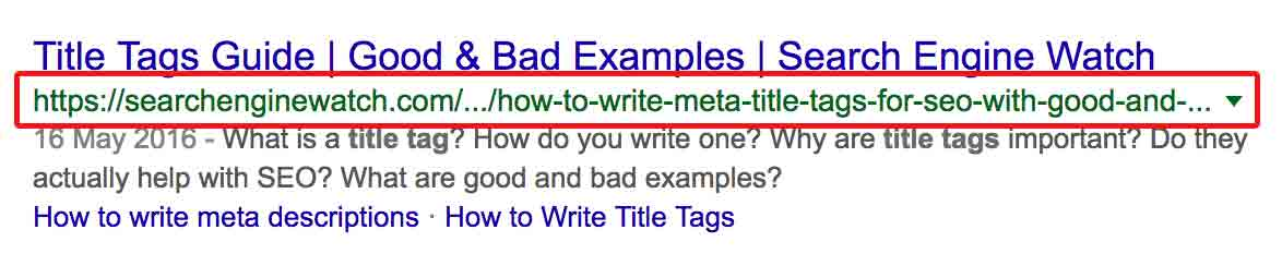 Google search result with URL highlighted