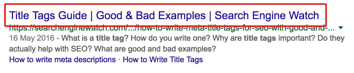 Google search result with title tag highlighted