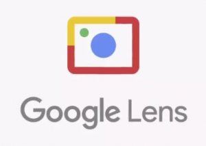 Google Lens logo, which looks like a simplified camera with a red and yellow outline, blue lens and green flash.