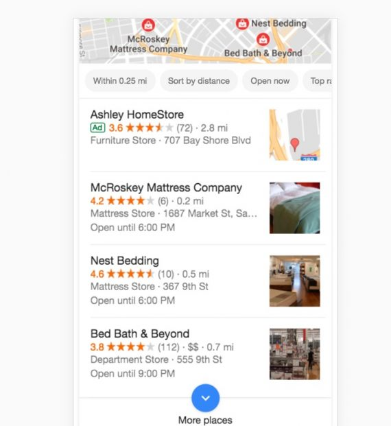 "When searching ""bedding near me,"" Bed, Bath & Beyond ranks third because two competitors have closer locations."