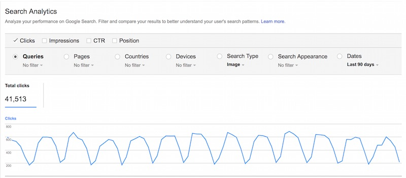Track image search visits in Google Search Console. Go to Search Traffic > Search Analytics > Search Type: Image.