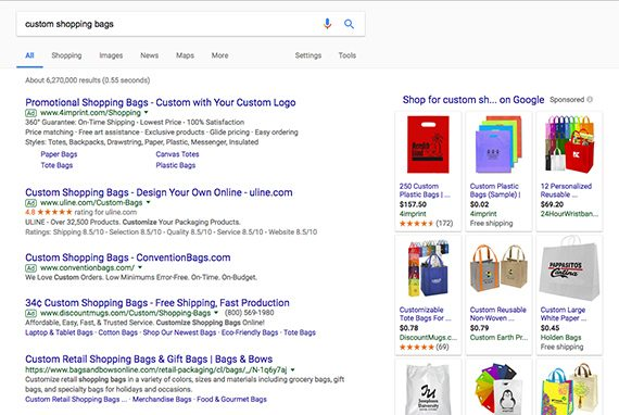 "Notice in this screen capture from Google for search results for ""custom shopping bags"" that some of the companies are buying multiple pay-per-click ads on the page."