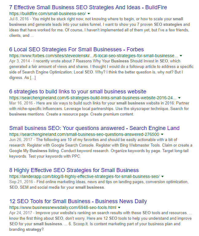 small business SEO SERP