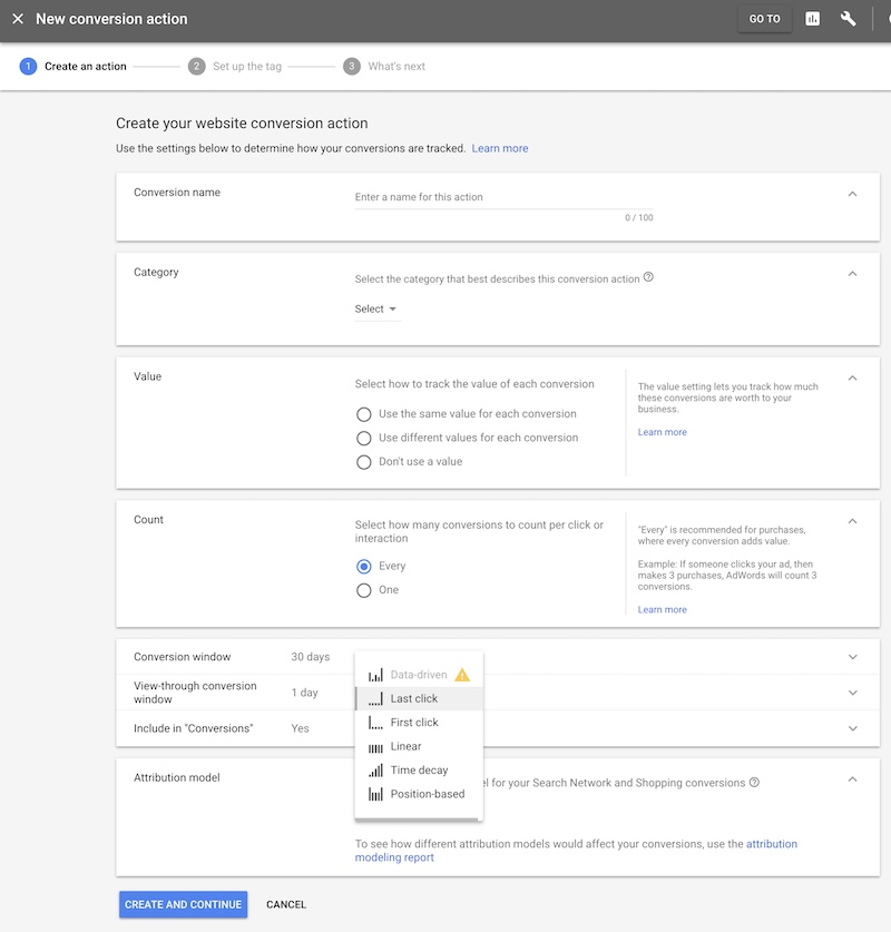AdWords attribution conversion setting