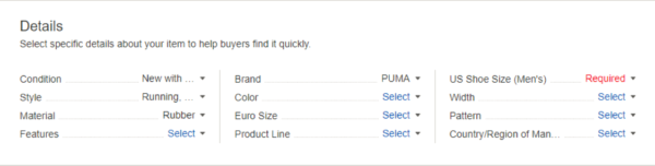 eBay example of listing description